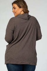 Mocha Ribbed Hooded Curved Hem Plus Cardigan