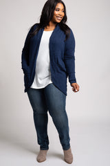 Navy Blue Ribbed Hooded Curved Hem Plus Cardigan