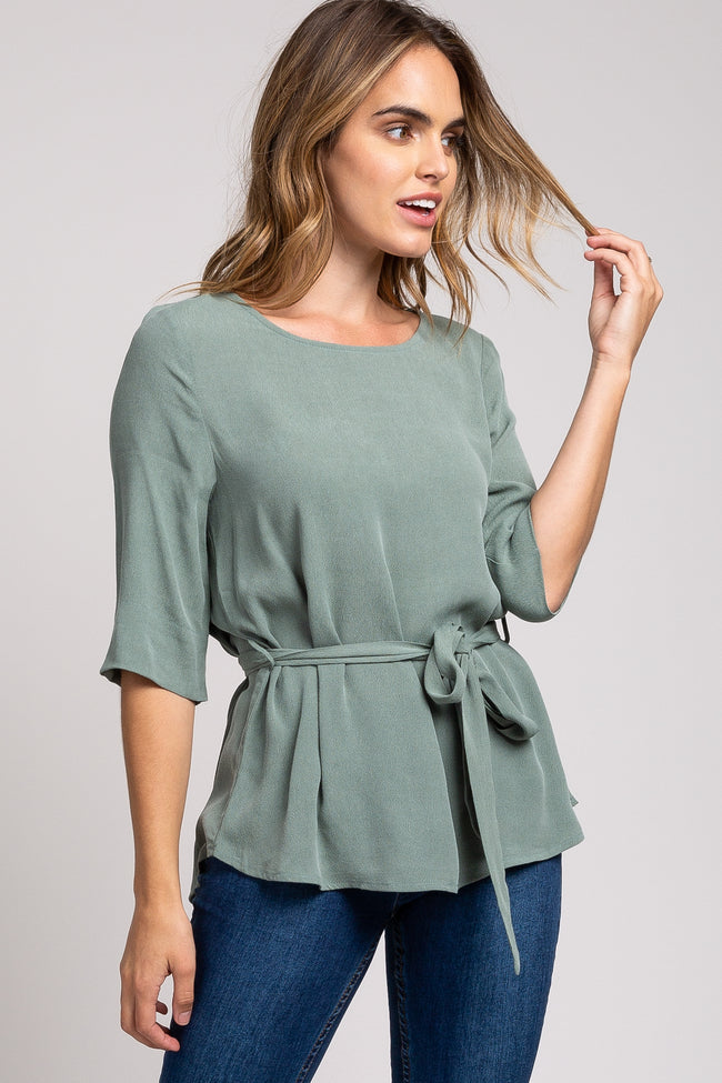 Light Olive 3/4 Sleeve Front Tie Top