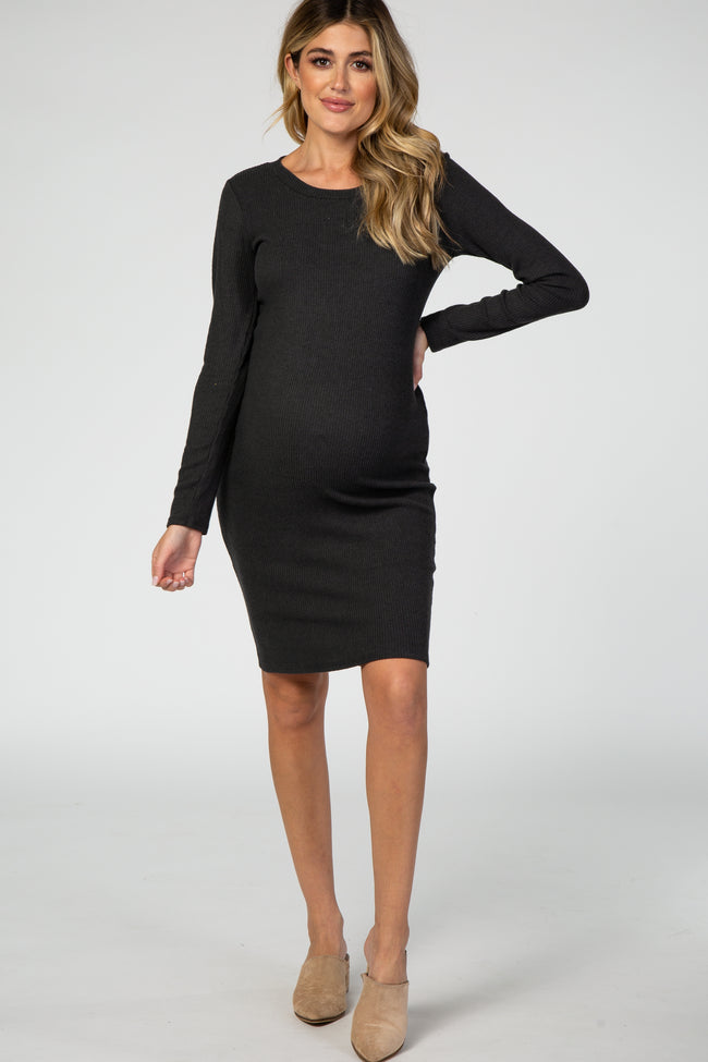Forest Green Knit Long Sleeve Maternity Dress