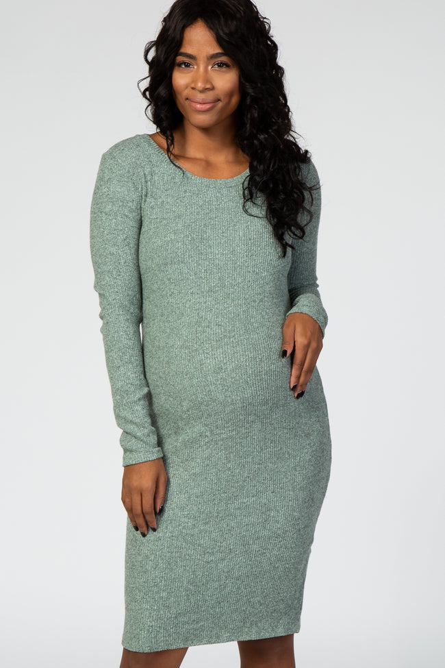 Mint Green Knit Long Sleeve Maternity Dress