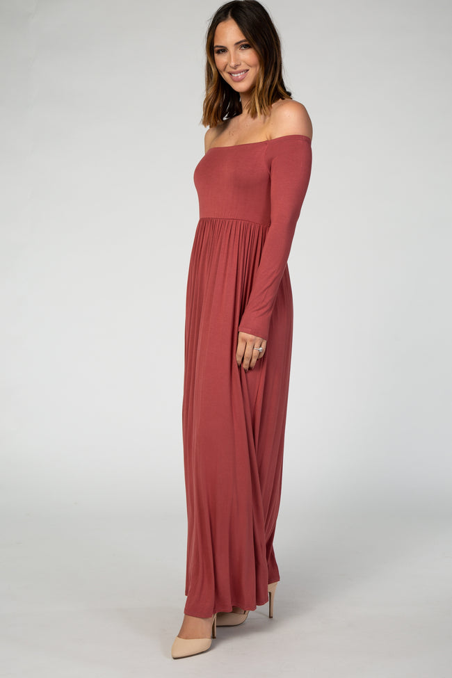 Rust Off Shoulder Long Sleeve Maxi Dress