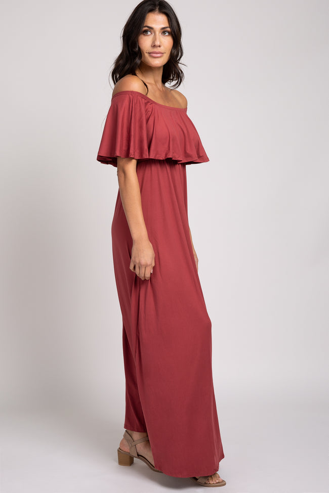 Rust Off Shoulder Maxi Dress