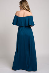 Teal Off Shoulder Maxi Dress