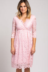 Light Pink 3/4 Sleeve Floral Lace Dress