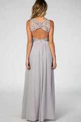 Grey Sleeveless Back Chiffon Maternity Dress