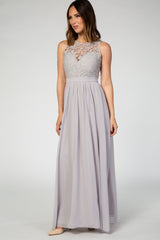 Grey Sleeveless Lace Neck Chiffon Maxi Gown