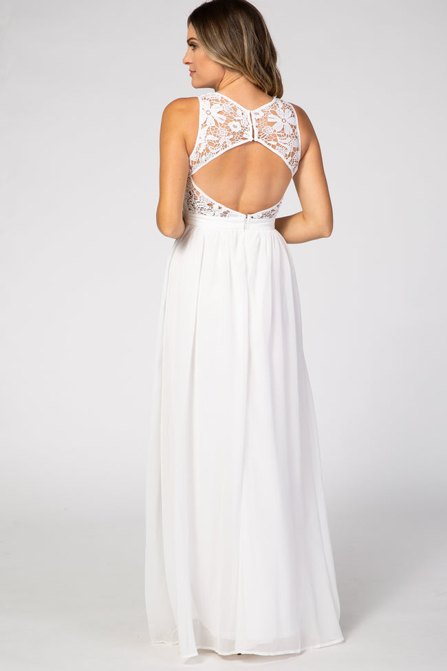 Ivory Sleeveless Lace Neck Chiffon Maxi Gown