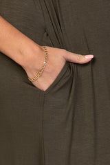 Olive Button Ruffle Sleeve Maternity Maxi Dress