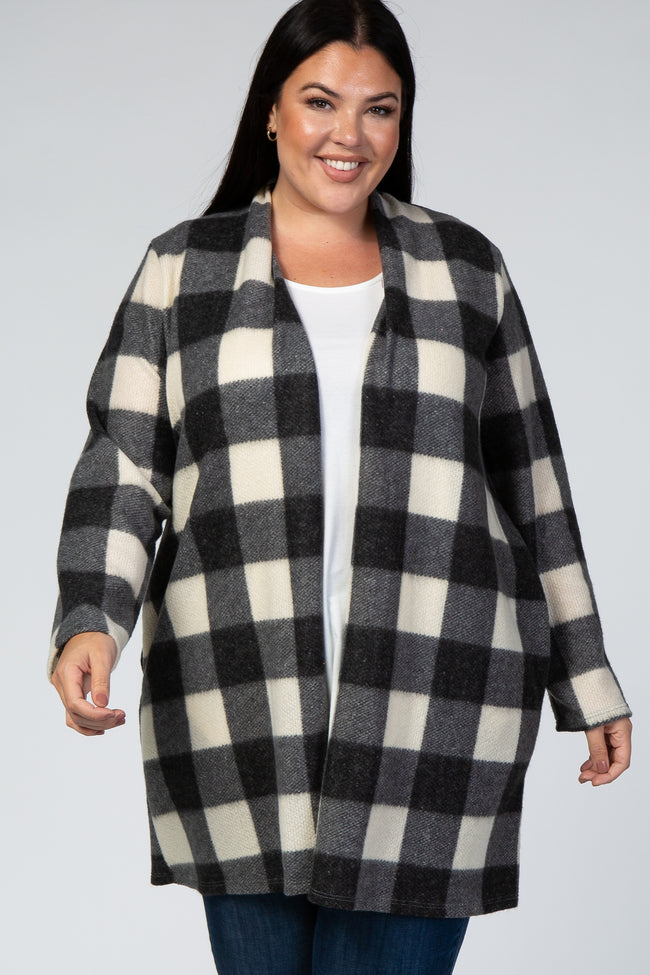 Ivory Plaid Maternity Plus Cardigan