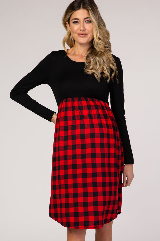 Red Plaid Long Sleeve Empire Waist Maternity Dress