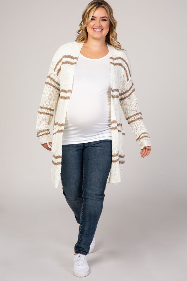 Ivory Striped Knit Maternity Plus Cardigan