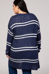 Navy Blue Striped Knit Plus Cardigan