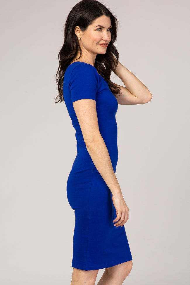 Royal Blue Fitted Short Sleeve Dress