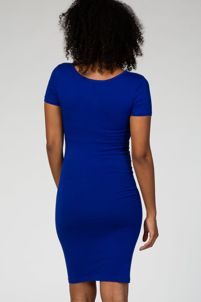 Royal Blue Fitted Short Sleeve Maternity Dress