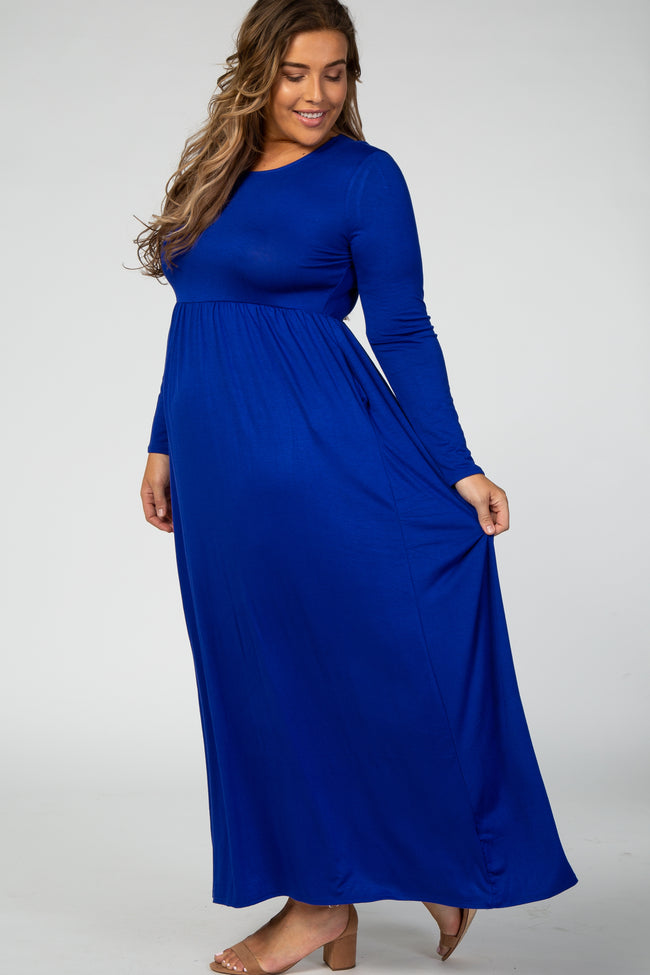 Royal Blue Long Sleeve Plus Maxi Dress