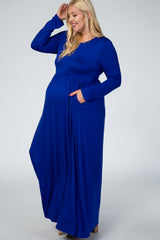 Royal Blue Long Sleeve Maternity Plus Maxi Dress