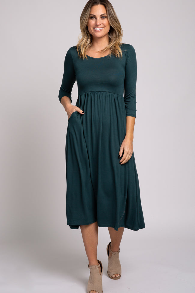Forest Green 3/4 Sleeve Midi Dress