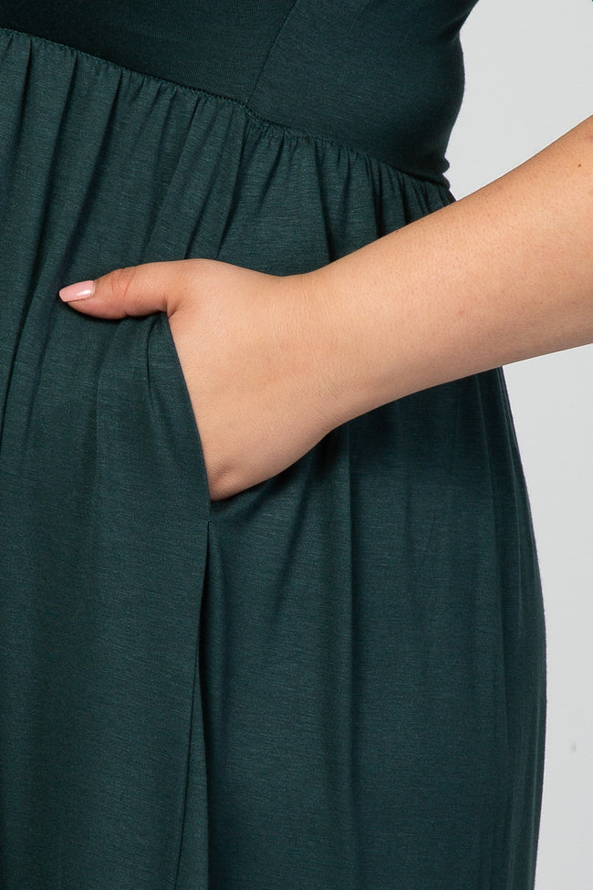 Forest Green 3/4 Sleeve Maternity Plus Midi Dress