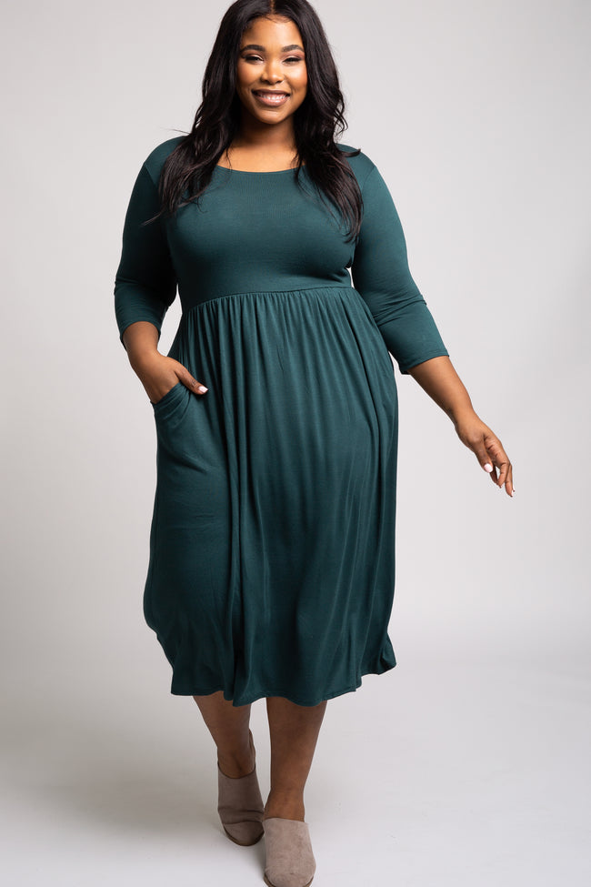 Forest Green 3/4 Sleeve Plus Midi Dress