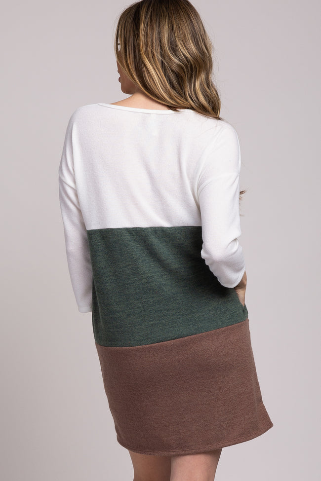 Olive Colorblock 3/4 Sleeve Sweater Dress