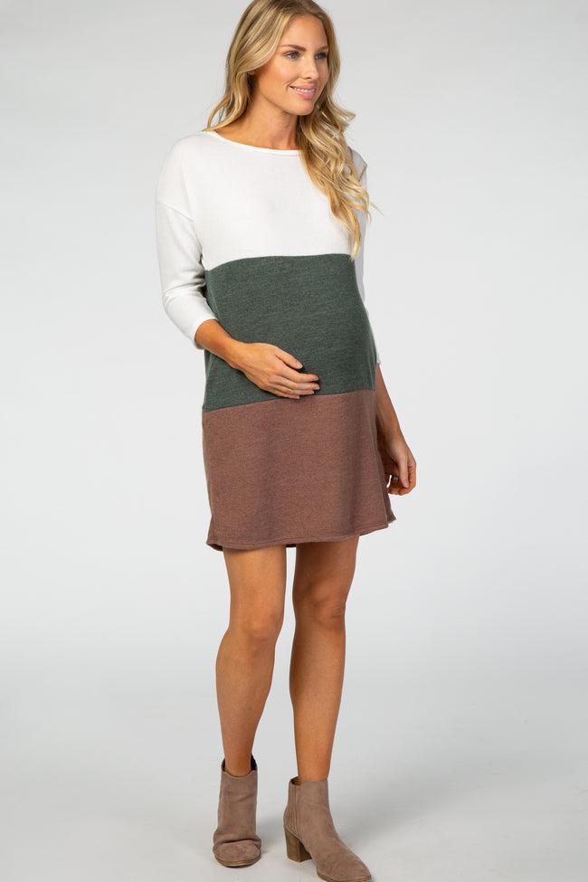 Olive Colorblock 3/4 Sleeve Maternity Sweater Dress