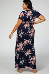 Navy Blue Floral Short Sleeve V-Neck Plus Maternity Maxi Dress