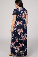 Navy Blue Floral Short Sleeve V-Neck Plus Maxi Dress
