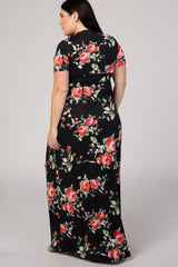 Black Floral Short Sleeve V-Neck Plus Maxi Dress