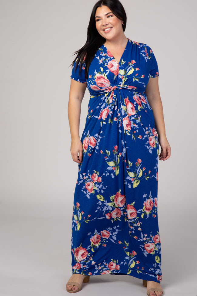 Royal Blue Floral Short Sleeve V-Neck Plus Maternity Maxi Dress