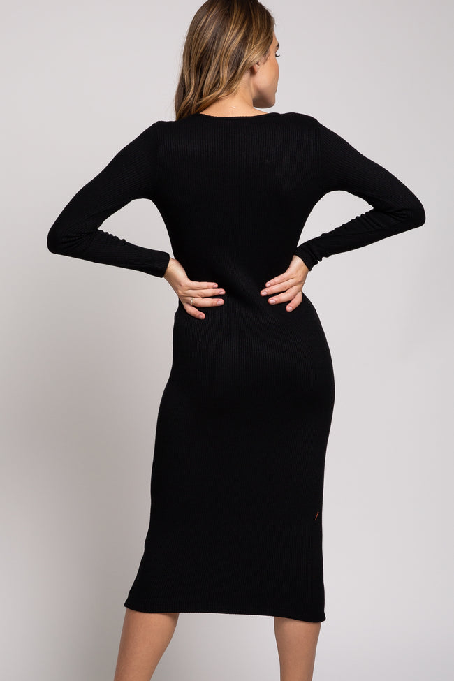 Black Ribbed Knit Midi Dress