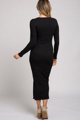 Black Ribbed Side Slit Long Sleeve Maxi Dress