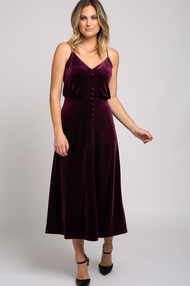 Plum Velvet Button Down Front Slit Maxi Dress
