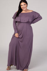 PinkBlush Purple Off Shoulder Ruffle Long Sleeve Plus Maternity Maxi Dress