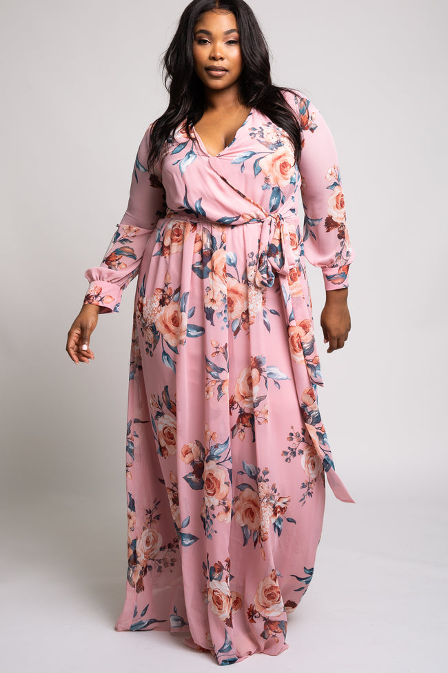 Pink Floral Chiffon Plus Maxi Dress