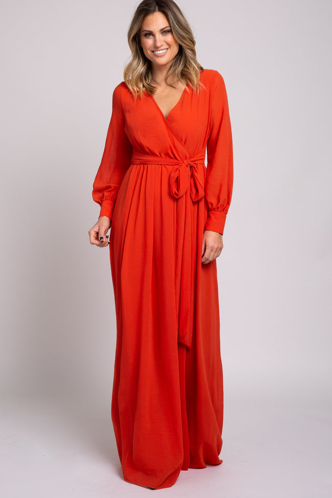 Orange Chiffon Maternity Maxi Dress