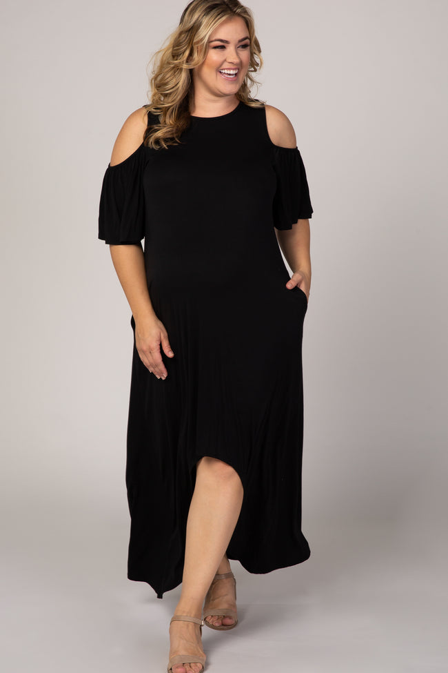 Black Cold Shoulder Hi Low Hem Ruffle Detail Plus Maternity Dress