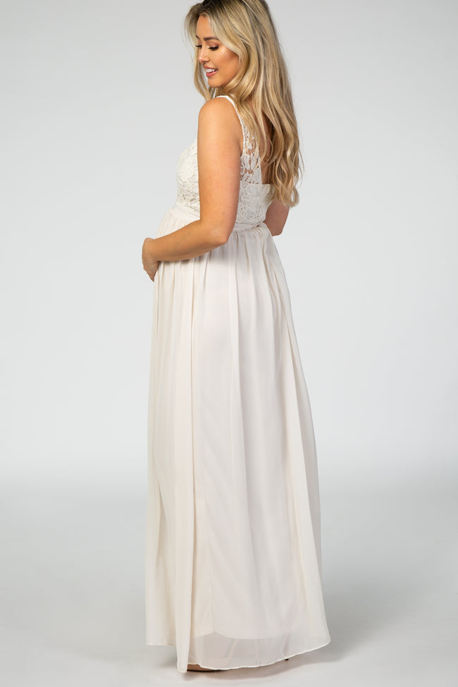 Ivory Sleeveless Cut Out Back Chiffon Maternity Dress