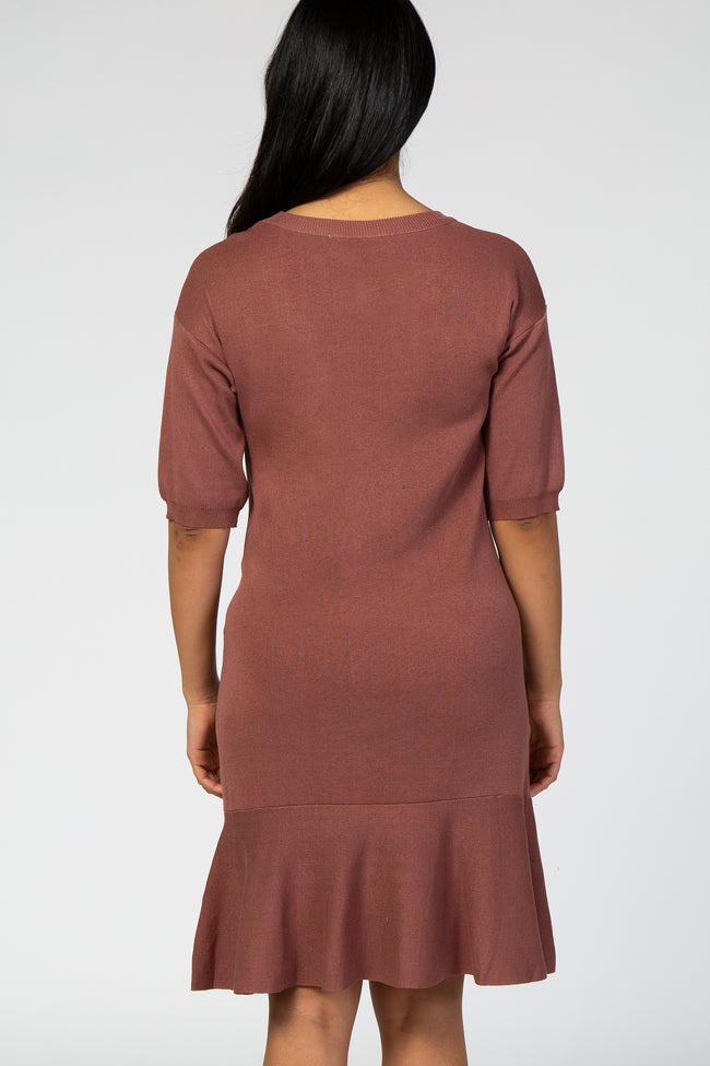 Mauve 3/4 Sleeve Ruffle Hem Knit Maternity Dress