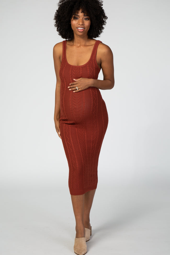 Rust Fitted Cable Knit Maternity Midi Dress