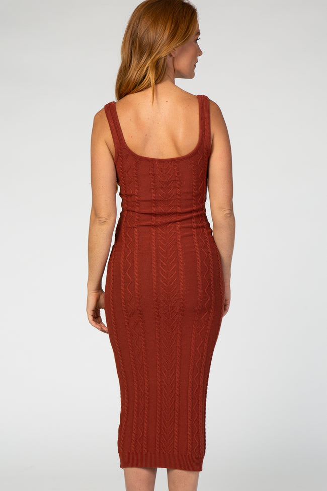 Rust Fitted Cable Knit Midi Dress
