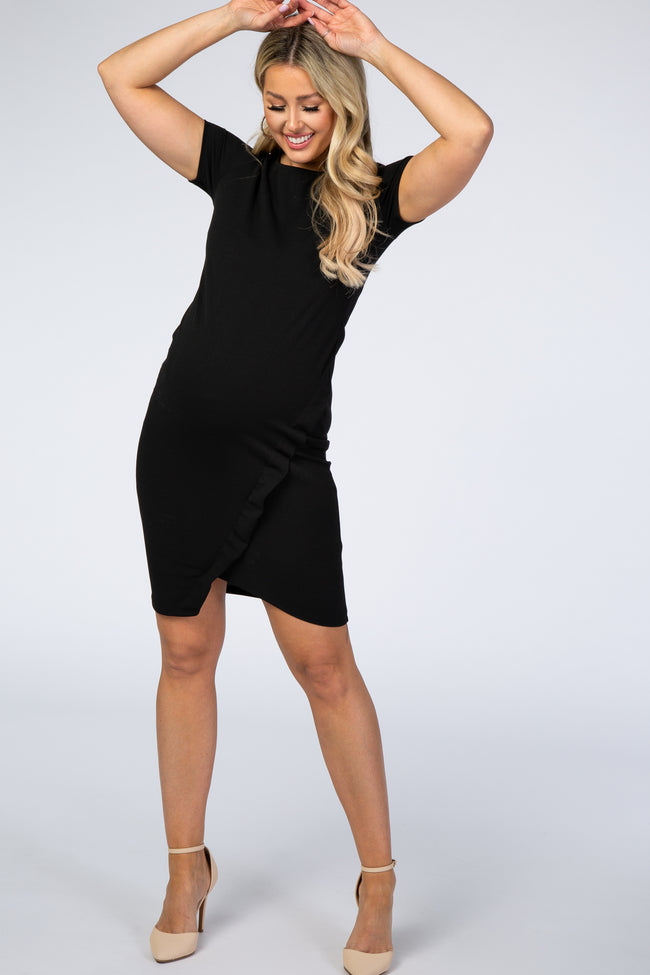 PinkBlush Black Short Sleeve Fitted A-Line Detail Maternity Dress