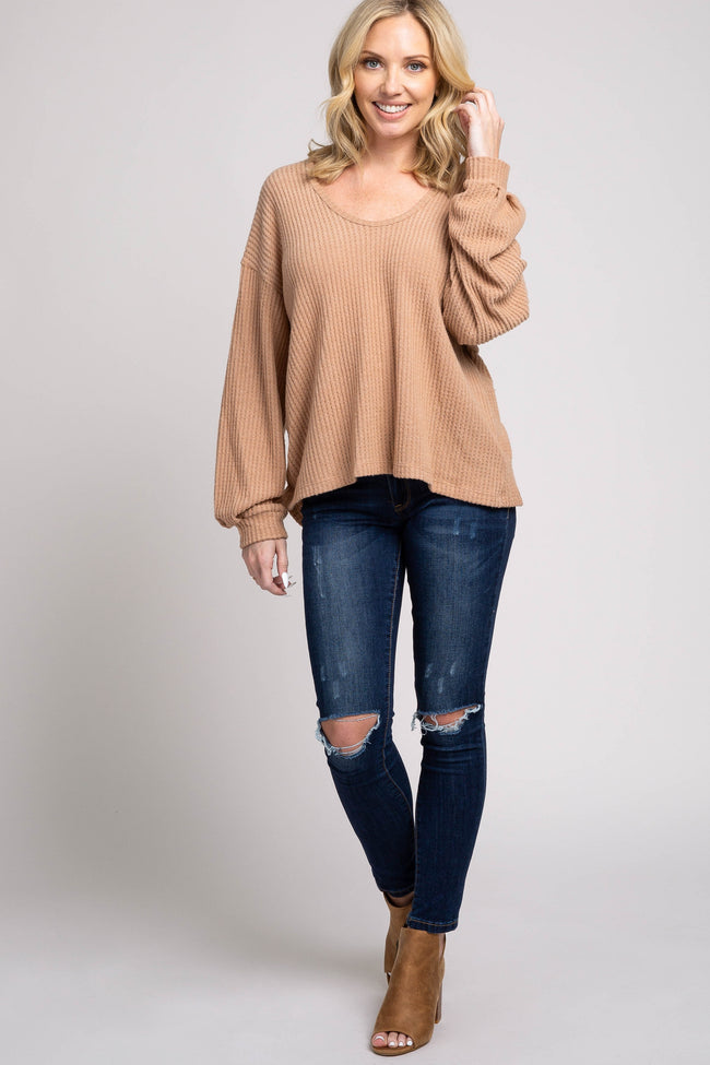 Mocha Soft Knit Scoop Neck Top