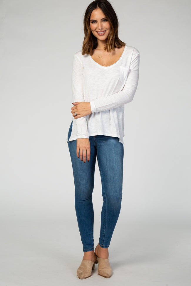 White Long Sleeve Pocket Front Top