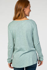 Mint Green Long Sleeve Pocket Front Top