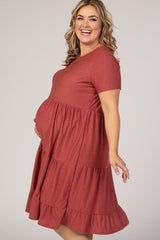 Mauve Swiss Dot Maternity Plus Midi Dress