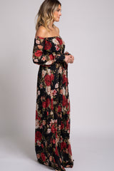 Black Rose Floral Off Shoulder Chiffon Maxi Dress