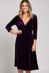 Plum 3/4 Sleeve V-Neck Velvet Dress