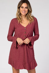 Burgundy Button Front Long Sleeve Ruffle Accent Dress