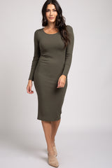 Olive Ribbed Long Sleeve Fitted Midi Dress
